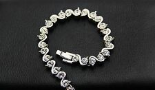 Simulated Diamond/Wedding/Bridal Bracelet/Clear Crystal/White Gold Plated/RB009