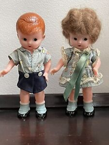 """Vintage Kewpie Doll Pair Knickerbocker Matching Outfits 6"""" Celluloid"""