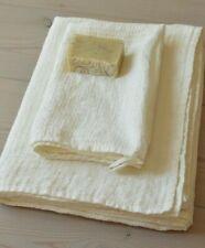 Super Lightweight 100% Pure LINEN Ivory Waffle BATH + HAND Towels SET