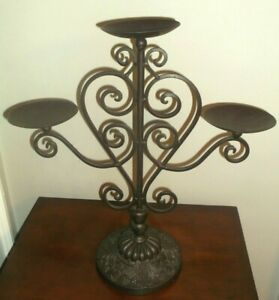 Vintage 3 Arm Wrought Iron Candelabra ~ Metal Candle Holder ~ Rustic, Farmhouse