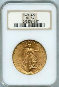 1923 $20 Twenty Dolar Gold Saint Guadens Coin Double Eagle NGC MS 63