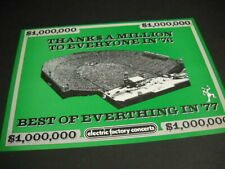Electric Factory Concerts 1976 Promo Poster Ad Thanks A Million To Everyone mint