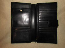 T ANTHONY EXPANDABLES LARGE BI-FOLD WALLET ORGANIZER TRAVEL BLACK LEATHER