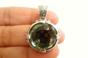 Round Green Amethyst Solitaire Ornate Enhancer Bail 925 Sterling Silver Pendant