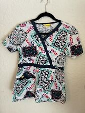 WonderWink Floral Multicolor Scrub Top Shirt, Size Xs, Drawstring Empire Waist