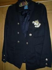"""BNWT """"Sirène"""" Bleu Marine Veste, style militaire, taille 10 petite, badge/Argent Boutons"""