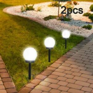 2PCS LED Solar Round Ball Lights Garden Path Lawn Outdoor Ground Lamp Waterproof