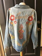 New $159 RARE! Chico's Love Indigo Embroidered Denim Jean Jacket 3 XL 16 18 NWT