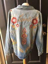 New $159 RARE Chico's Love Indigo Embroidered Denim Jean Jacket 4 XXL 20 22 NWT