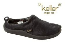 MENS DR KELLER BLACK ORTHOPAEDIC MEMORY FOAM SLIP ON MULE SLIPPERS UK SIZE 7-12