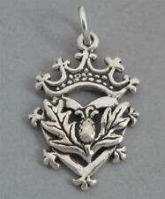 New Scottish THISTLE HEART & CROWN Solid Sterling Silver 925 Charm Pendant  2982