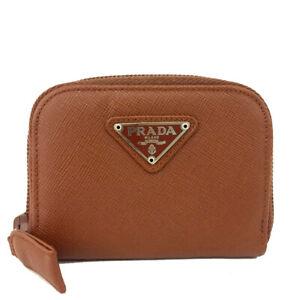 PRADA Logo Plate Brown Leather Zip Around Coin Purse Wallet/F0333