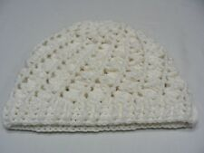 WHITE - HAND KNITTED - XL SIZE STOCKING CAP BEANIE HAT!