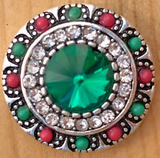 $/Snap Chunk 20mm Green/Clear Sets And Beads Charm For Snap Bracelet & Necklace
