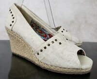 Skechers Canvas Beige Cream Espadrilles Wedge Heels Studded Women's Size 8.5