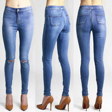 Cotton Ripped, Frayed High L32 Jeans for Women