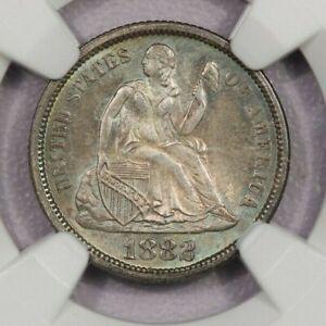 1882-P 1882 Seated Liberty Dime 10c NGC MS65 Beautiful toning!