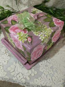 Cake Carrier Vintage! Handpainted pink roses hydrangeas!