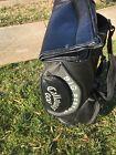 Callaway Big Bertha cart bag 6 dividers black canvas,faux leather w/Head cover