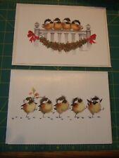Christmas Cards Art By Valerie Pfeiffer chicks unused w/ envelopes lot of 2