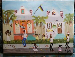 NEW ORLEANS LA. FOLK ART ORIG. PAINTING 9x12  BY P. FORD  MUSIC PARADE BEADS