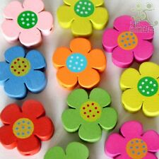 20pcs Mixed Colour Cute Flower Shape Wooden Beads Eco-friendly Paint 20x20mm