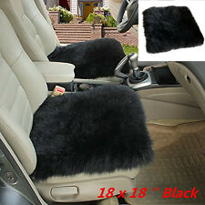 "1x Genuine Sheepskin Long Wool Car Seat Covers Chair cushion 18"" x 18"" BLACK New"