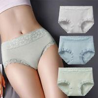 Pure Cotton Underwear Women's Lace Flower High Waist Panties Soft Ladies Briefs/
