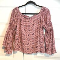 ELODIE Women's Bell Sleeve Floral Cropped Off Shoulder Boho Pink Blue Top Small