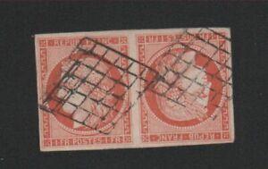Timbre de France,  Speratie Reproduction, N° 7d, 1 f tête-bêche Cérès oblitéré .