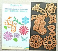 Positively Me Jewel flowers and Flourishes Dies 8 Pieces (1 Missing) VGC