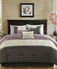 Madison Park Serene 7-Pc Striped Embroidered Floral Comforter Set Queen - Purple
