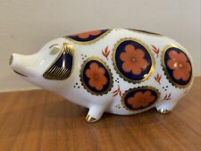 Royal Crown Derby Pig Paperweight With Ceramic Stopper L11