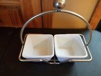 PAMPERED CHEF SIMPLE ADDITIONS SET OF 2 SMALL BOWLS - 1910 - WHITE-4.5""