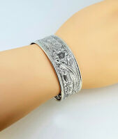 Beautiful 925 Sterling Silver Cuff Bracelet, Large Floral Bangle