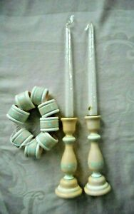 "PAIR OF 7"" CANDLESTICKS, 2 10"" CANDLES & 8 MATCHING NAPKIN RINGS-FLOWERED D"