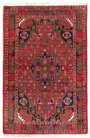 """Hand Knotted Tribal Red Blue Nomadic New Wool Nahavand Oriental Rug 3'6"""" x 5'"""