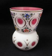 VINTAGE BOHEMIAN GLASS WHITE VASE OVERLAY CUT TO CRANBERRY HANDPAINTED CZECH