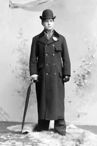 Victorian Era... Well Dressed Man, Bowler Hat,Coat, Umbrella..Photo Reprint 8x12