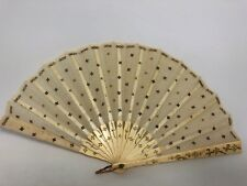 Vintage White With Gold Accents Celluloid and Fabric Applied Flower Hand Fan 12A