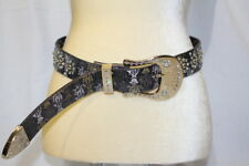 ED HARDY Christian Audigier GENUINE LEATHER Belt CROWN Art Rhinestones M-B135