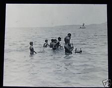 Glass Magic Lantern Slide BOYS PLAYING WITH TOY CANOES C1910 PAPUA NEW GUINEA