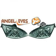 LHD Projector Headlights Pair Angel Eyes Clear Chrome H1 H1 For Ford Focus 01-04