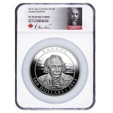 2015 10 oz Proof Royal Canadian Mint $100 Albert Einstein Silver Coin NGC PF 70