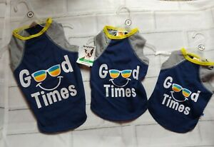 3x NEW SIMPLY DOG  DARK BLUE Good Times sunglasses DOGGIE T- SHIRT SZ xs s med