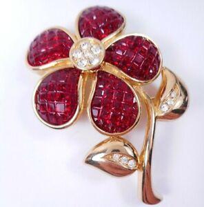 Vtg Signed Swarovski Swan Red Invisible Set Rhinestone Flower Brooch Pin