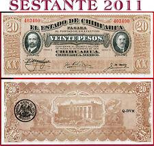 (com) MEXICO EL ESTADO DE CHIHUAHUA -  20 PESOS 1914 - Serie E -  P S536b -  UNC