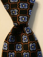 PETER MILLAR Men's SEVEN FOLD 100% Silk Necktie Luxury Black/Blue/Orange EUC