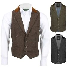 Mens Tweed Wool Waistcoat Vintage Velvet Collared Smart Casual Vest Brown Grey