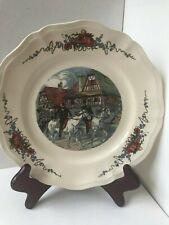 Sarreguemines Obernai Pattern Large Dinner Plate Village Men Riding Horseback